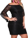 Lace Dress Plus Size Off Shoulder Bodycon Mini Dress Oversize Party Clubwear