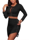 Sexy Two-piece Set Bandage Asymmetric Bodycon Skirt Suits Party Clubwear