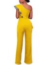 Sexy Frauen Jumpsuit One-Shoulder-Rüschen Sleeveless breiten Beinen elegante Casual Strampler