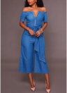 Cremallera de pierna ancha con hombros descubiertos Cremallera de cintura alta con cinturones delanteros Pantalones cortos de mezclilla con cintura alta