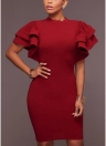 Ruffles Bodycon Dress Butterfly Sheath Bandage Dress Evening Cocktail Party Dress
