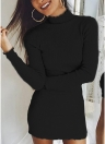 High Neck Bodycon Mini Knitted Sweater Dress
