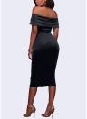 Frauen Sexy weg von der Schulter trägerlosen Party Midi Kleid