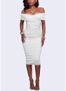 Women Sexy Off the Shoulder Strapless Party Midi Dress