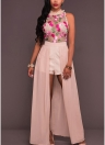 Sheer Mesh Floral Embroidery Sleeveless Maxi Skirt Overalls Romper Casual Playsuit