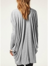 Chic Women Over Size Solid O-Neck Batwing Long Sleeve Knit  T-Shirt