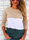 Casual Women Patchwork  Long Sleeves T-Shirt