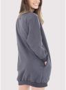 Fashion Women Plain Baggy Long  O Neck Pockets Jumper Long Sweatshirt