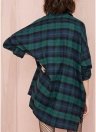 Women Over sized Plaid Tartan Shirt Buttons Pocket Turn-down Collar Long Sleeve Baggy Check Blouse