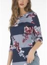 T-shirt con maniche a 3/4 stampate a fiori da donna