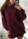 Camisola feminina Manga comprida O-Neck Solid Casual Loose Long Top Pullover