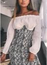 Sexy Women Snake Print Open Chest Strapless Alta Cintura Voltar Zipper Corset Mini Bodycon Dress