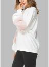 Sudaderas sueltas de mujer Linterna Manga larga de piel suelta Hombro Sweatershirt