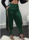 Sexy Women Long Pants High Split Striped Solid Track Pants