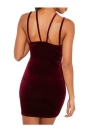 New Sexy Women Mini Elastic Details Backless Sleeveless Party Dress Burgundy