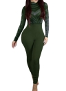 Femmes Sexy Bodycon Bodysuit Imprimer Turtleneck collants longs manches Rompers Stretchy Jumpsuit