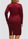 Plus Size Rhinestone Stripe Round Neck Bodycon Midi Dress