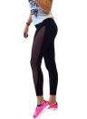 Новые женщины Спорт Йога Леггинсы Sheer сетки сращивания Stretch Фитнес-центр Бег Брюки Black-футляр