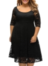 Plus Size Floral Round Neck 3/4 Sleeve V Zip Back Lace A Line Dress
