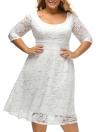 Mulheres Plus Size vestido de renda Floral O Neck-A-Line Três Quartos mangas cintura alta V Zipper Voltar vestido de festa preto / branco