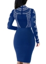 Sexy Women Semi-sheer Long Sleeve Dot Pattern Zipper Bodycon Party Dress