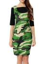 Off Shoulder Half Sleeve Crop Top Camouflage Two Piece Bodycon Mini Dress