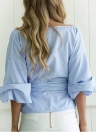 Striped Cross Front Off Shoulder Zipper Side Belt Loose Blouse