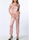 Las mujeres de dos piezas de la blusa de los pantalones de rayas de manga larga de la cremallera de la cintura elástico ocasional de deporte Top Pantalones color de rosa / azul real