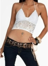 Crochet Halter Plunge V Neck Sleeveless Crop Top