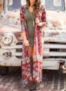 Boho Floral Print Open Front Túnica de três quartos Loose Long Kimono