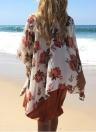 Frauen-Strand-Kimono Chiffon Blumendruck vorne offen Aufmaß Lange Boho Gelegenheits Cover Up Cardigan Weiß