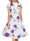 Fashion  Women Vintage Rose Print  Party Swing Dress