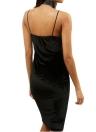 Sexy Frauen Midi figurbetontes Kleid Velvet Blumenstickerei tiefem V-Ausschnitt Backless elegante Beleg-Abend-Partei-Kleid-Schwarz