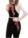Floral Embroidery Halter Backless Crop Top Bodycon Skirt Women's Two Piece Set