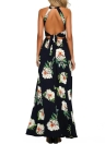 Women Floral Print Halter Backless Dress Chiffon Sleeveless Split Maxi Dress