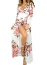 Сексуальные женщины шифон Maxi длинный тонкий платье Flora печати Глубокий V шеи с длинными рукавами Split Элегантный отпуск платье белого