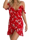 Floral Chiffon Off Shoulder V Neck Ruffle Backless Women's Mini Dress