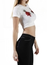Cool  Embroidery Round Neck Short Sleeve Women's Crop Top