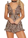 New Sexy Mulheres Jumpsuit Curto macacãozinho cópia floral cortado V-Neck Ruffle Backless mangas Playsuit Casual