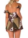 Новые сексуальные женщины Комбинезон Короткие Rompers Цветочные Геометрический с плеча Tie рукава Карманы Backless вскользь Rose костюм для подвижных игр