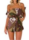 Nuevo atractivo de las mujeres del mono de los mamelucos cortos geométrico floral de la manga del hombro del lazo Bolsillos sin respaldo ocasional Playsuit Rose