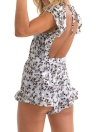 New Sexy Mulheres Jumpsuit Curto macacãozinho Floral Imprimir V-Neck Tie Frontal Figura para recortar Ruffle Backless Playsuit Casual