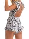 Neuer reizvoller Frauen-Overall Kurz Strampler Blumendruck mit V-Ausschnitt-Riegel-Frontausschnitt Rüschen Backless Lässige Playsuit