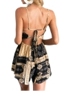Moda de Boho de las mujeres correa de espagueti del mono del contraste de impresión sin respaldo alto cortocircuito de la cintura del mameluco Mono corto Negro / Azul