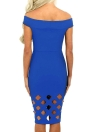 Elegant Women's Off Shoulder Hollow Out Short Sleeve Bodycon Midi Dress