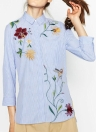 Fashion Floral Embroidery 3/4 Sleeve Button Striped Women's Blouse