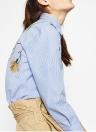 Neue Art und Weise Frauen-Blumen gestickter Bluse mit langen Ärmeln Buttoned gestreiftes Hemd Blau