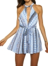 Summer Plunge Front Print Sleeveless Women's Rompers
