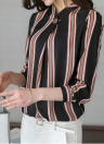 Elegant Striped Button Stand Collar Long Sleeve Women's Loose Blouse