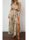 Chiffon Strapless Crop Wide Leg High Waist Split Women's Jumpsuit